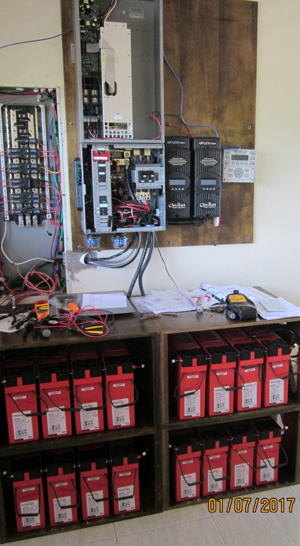 Outback controls and battery bank